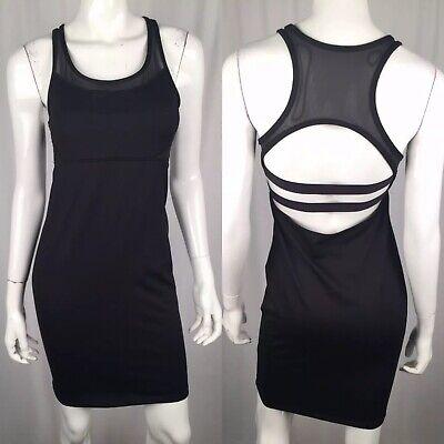 Fabletics Women's Medium Black Stretch Mesh Racerback Bandage Sheath Dress Tank