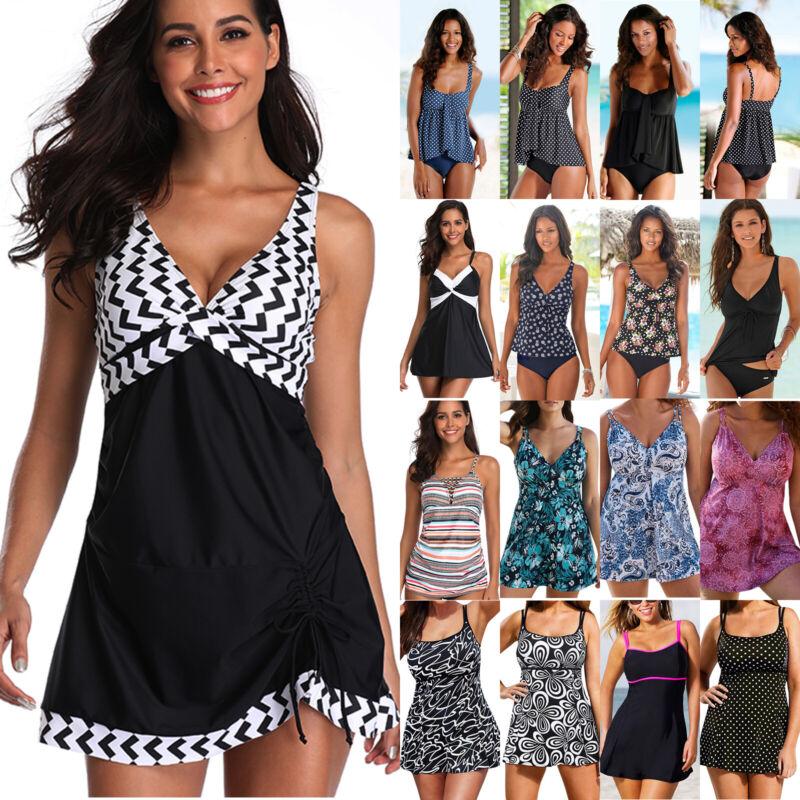 Damen Gepolstert Push-up Tankini Set Badekleid Bademode Sommer Strand Badeanzug