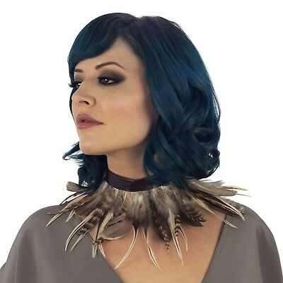 Women's Feather Collar Brown Tribal Indian Owl Wasteland Festival Queen Costume