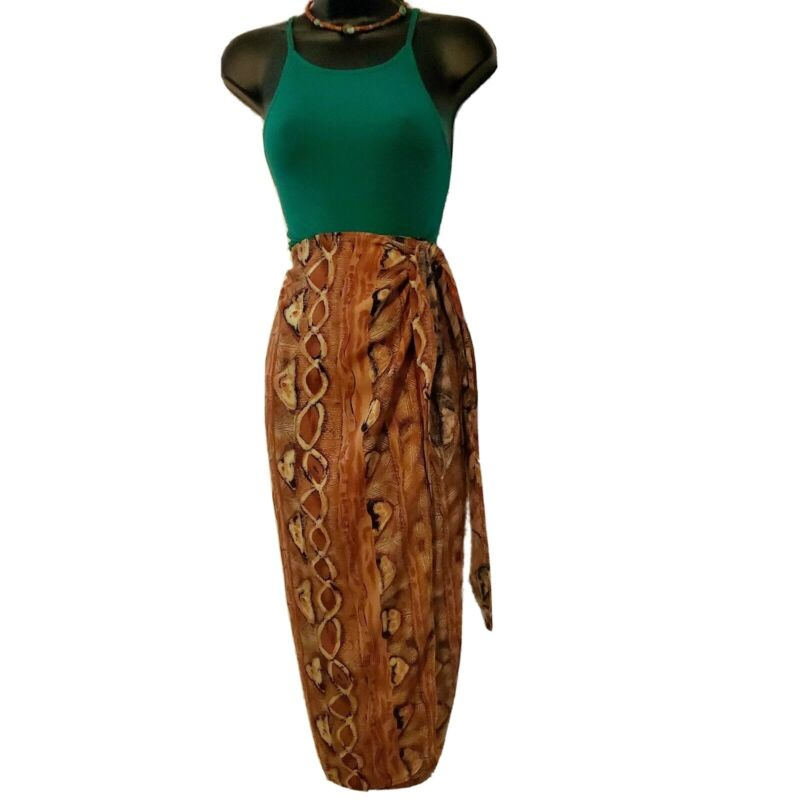 African Women Brown Tie Wrapper/ Skirt.