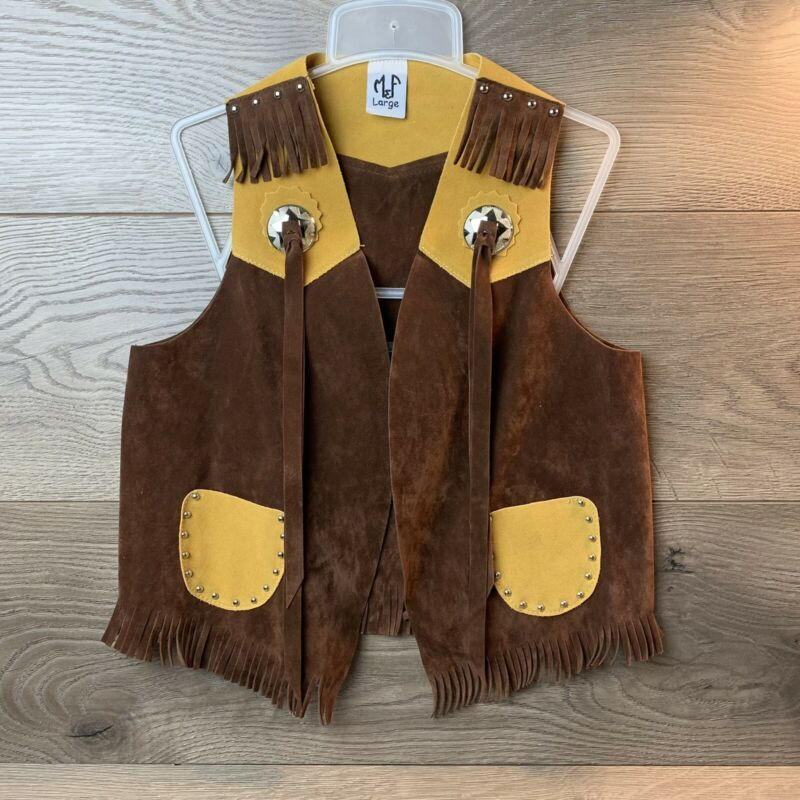 Child Size Large M&F Cowboy Western Sherif Style Costume Suede Fringed Vest.