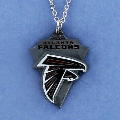 ATLANTA FALCONS Necklace - Pewter Enamel Charm Pendant Pro Football NFL NEW Enamel Atlanta Falcons Charm