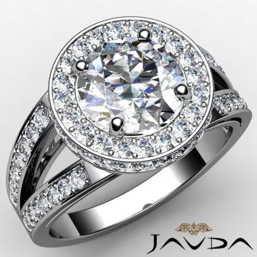1.76ct Round Halo Pave Diamond Split Shank Engagement Ring GIA F VS2 Platinum
