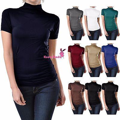 Women Seamless Stretch Short Sleeve Mock Neck Turtleneck Blouse Top Tee Shirt