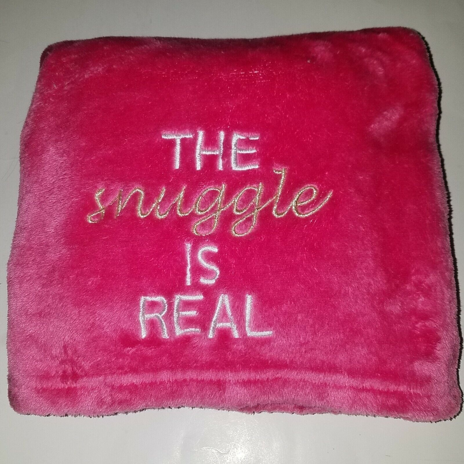 The Snuggle Is Real Hot Pink Fleece Baby Blanket 130369 Girl Lovey Soft 30 x40  - $29.95