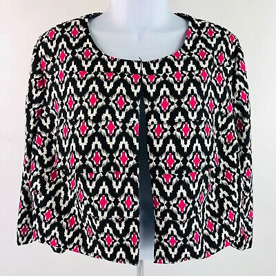 I.N. Studio, Women's jacket, Size 16W, lined, Black, White and pink, preowned