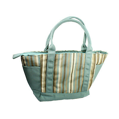 Canvas Lunch Utility Tote Bag Carry All Muliple Pocket Handbag Teal Green Stripe