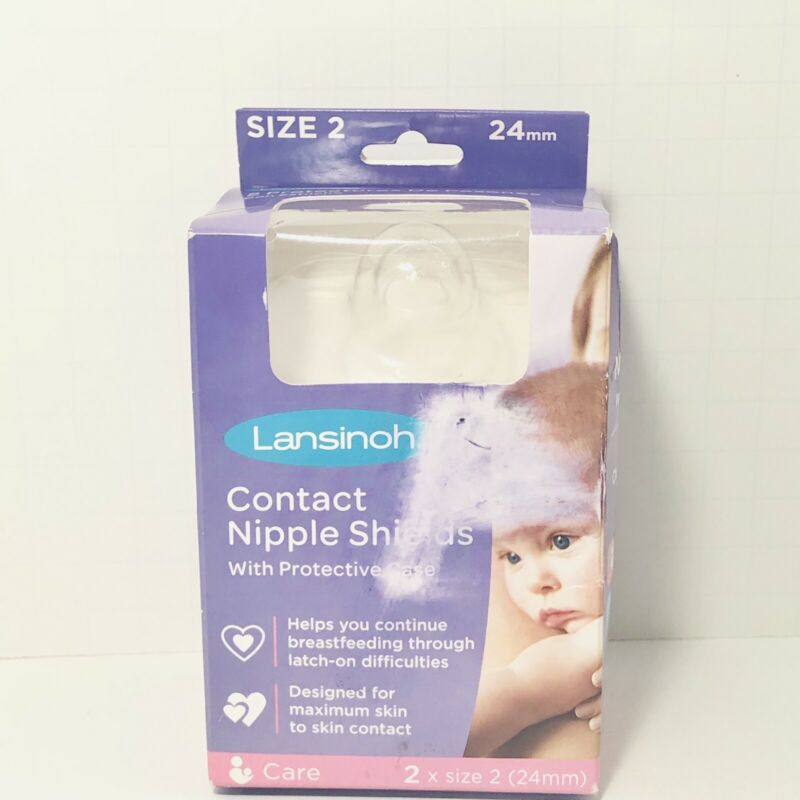 Lansinoh Contact Nipple Shields 2x Size 2 24mm Protective Case Latch On Issues