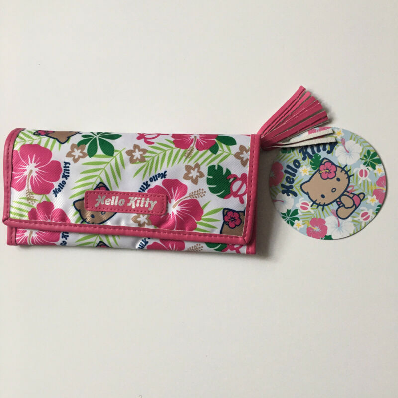 Hello Kitty Sanrio Hawaiian Pink Zippers Clutch Wallet Fold Hibiscus Turtle Tan