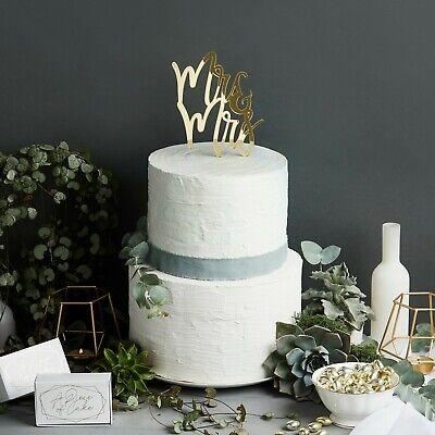 Gold Mirror Acrylic Mrs & Mr Cake Topper - Wedding, Venue Deco, Best Day