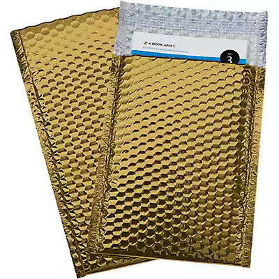 100 2 Glamour Metallic Gold Metalized Bubble Mailers Envelopes Bags 8.5x12