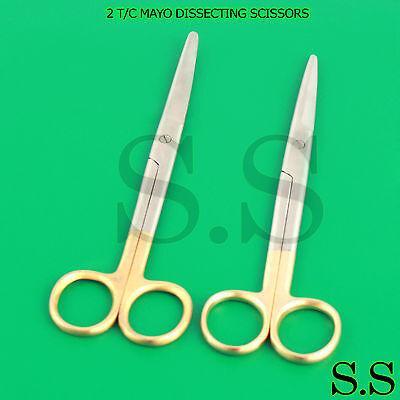 2 T.c Mayo Scissors Surgical Dental Veterinary Instrument 6.75 Strcvd