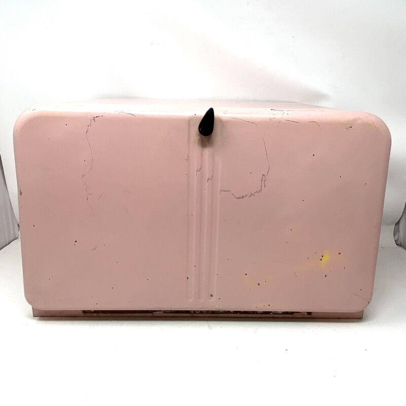 Vintage Pink Beauty Box Metal Bread Box / Pie Storage With Shelf