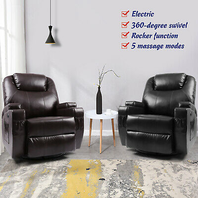Electric Rocker Recliner Massage Chair Sofa Swivel Leather Lounge 8 Point -