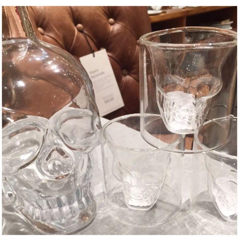 NWT Pottery Barn 5Pc ~SKULL~ Glass DECANTER & 4 Shot GLASS Set ~HALLOWEEN~ ☠️