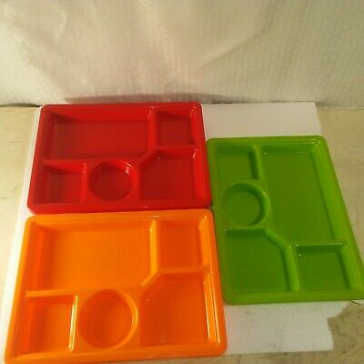Plastic Serving Plates (Lot of 6 Sectional Serving Trays Plates Plastic Assorted)