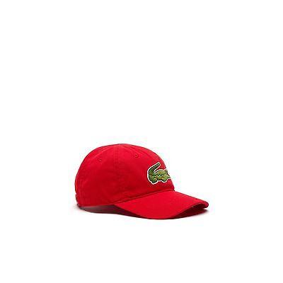 Lacoste Red Gabardine Strapback Cap with Large Crocodile