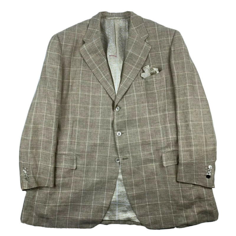 Bijan Light Brown Windowpane Checked Pure Linen Blazer Size 52L MOP Buttons