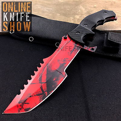 Tactical Combat Huntsman Knife Survival Hunting Bowie Fixed Blade W  Sheath Ruby