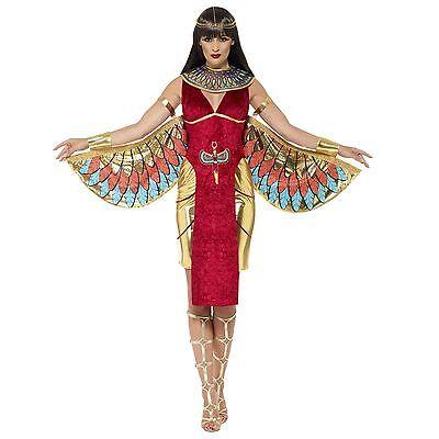 Halloween Voller Kostüme (Deluxe Damen ägyptisch Göttin Kleopatra Halloween Flügel voll Maskenkostüm)