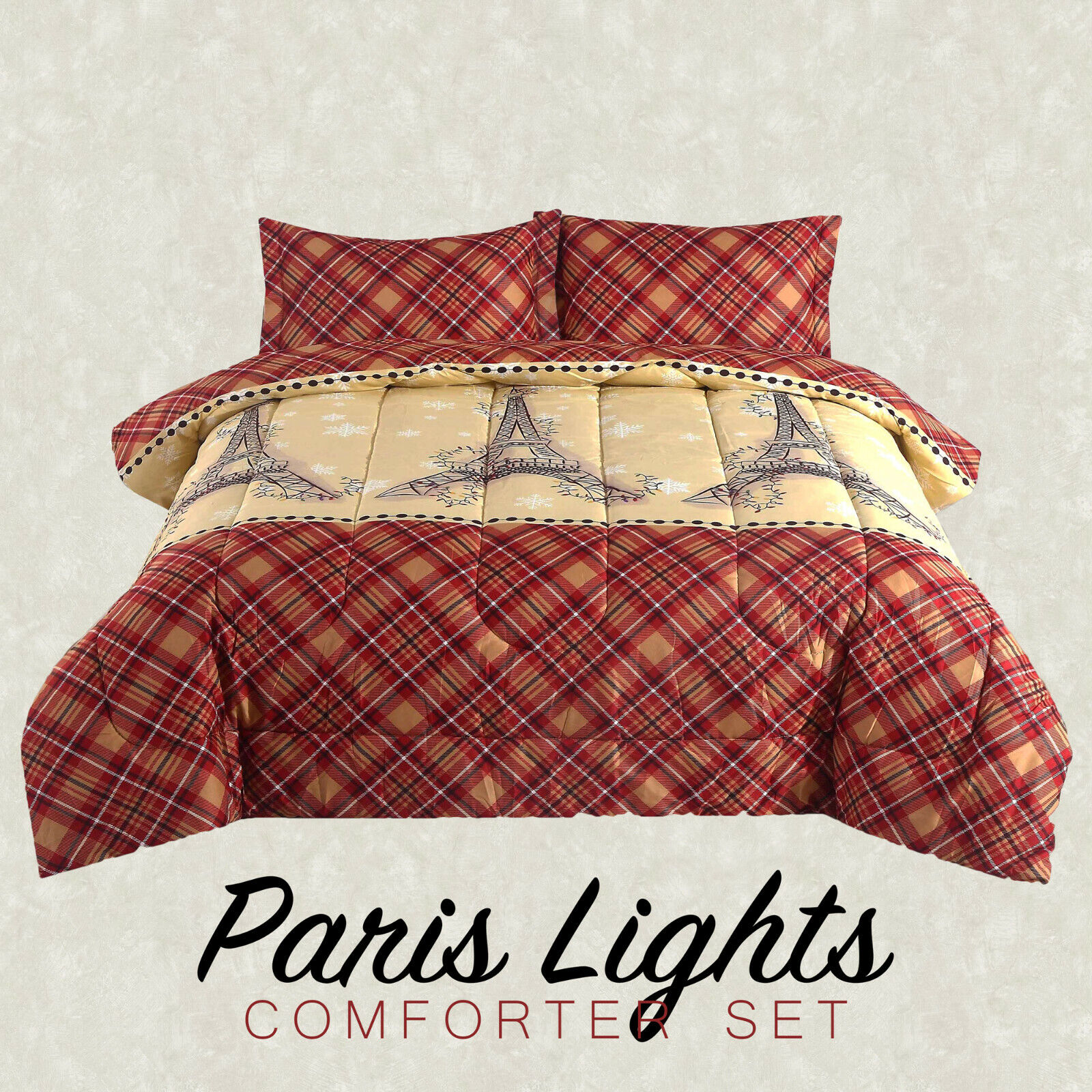 Paris Lights Eiffel Tower Plaid French Country Comforter Bedding Set, Red Tan Bedding