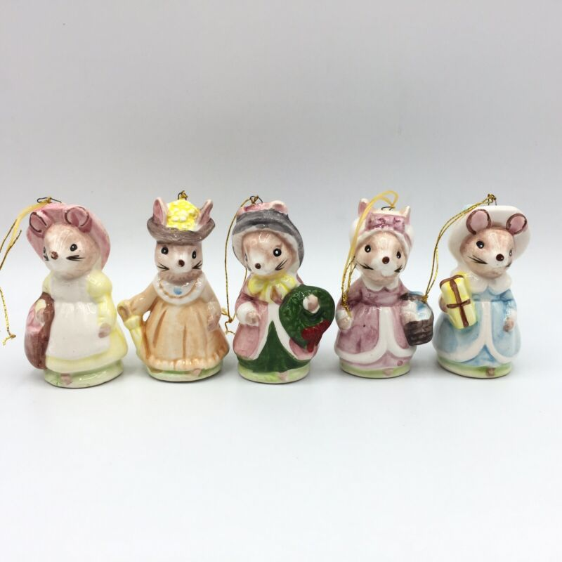 5 Set Vtg Beatrix Potter Ceramic Christmas Holiday Ornaments Mouse Rabbit Japan