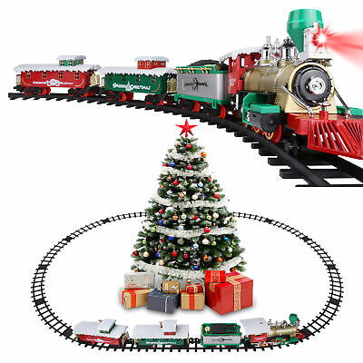 Large Electric Christmas Train Tracks Set Kids Toy With Lights Sounds Tree Decor