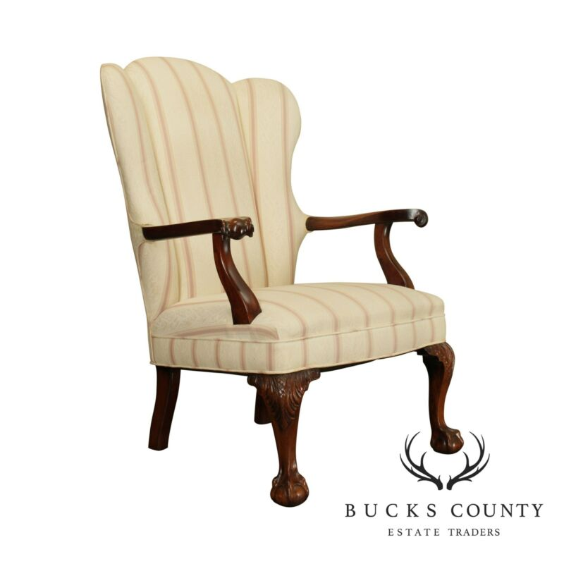 Chippendale Style Custom Mahogany Vintage Ball & Claw Armchair