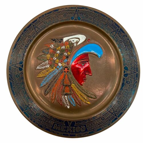 Vintage Aztec Mexico Copper Hand Painted Embossed Plaque Plate Dish Wall Hanging