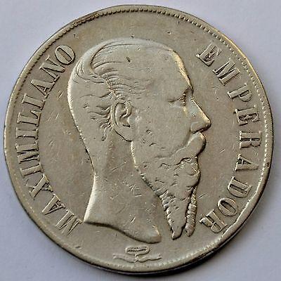 Mexico Empire of Maximilian 1866 Mo 1 Peso Silver Crown