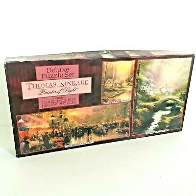 Vintage Thomas Kinkade Deluxe Puzzle Set 3 In 1 Ceaco Jigsaw Complete