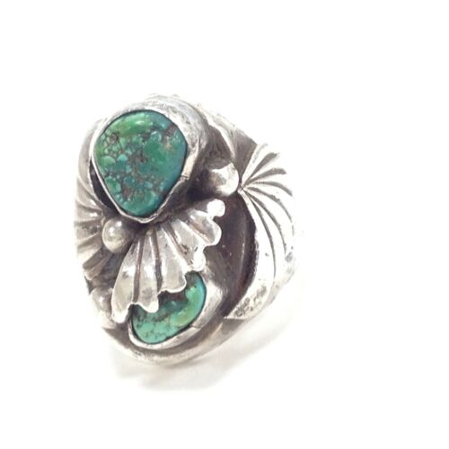 Vintage 925 Sterling Silver Southwestern Green Turquoise Sz 11 Heavy Ring 24.5g