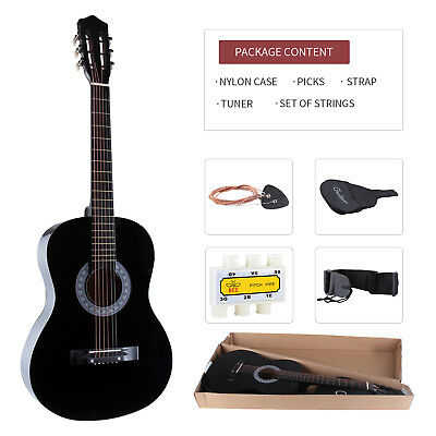 "Black 38"" Acoustic Guitar w/Guitar Case,Strap,Tuner,Pick,Steel Strings Beginners"