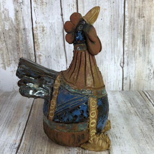 Handmade Chicken Rooster Turkey Figurine Bird Partial Glaze Signed Ceramic