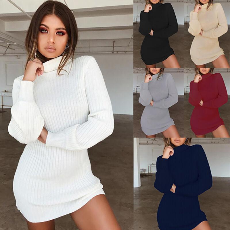Damen Kleid Pulloverkleid Pullikleid Strickkleid Minikleid Stricken Longpullover