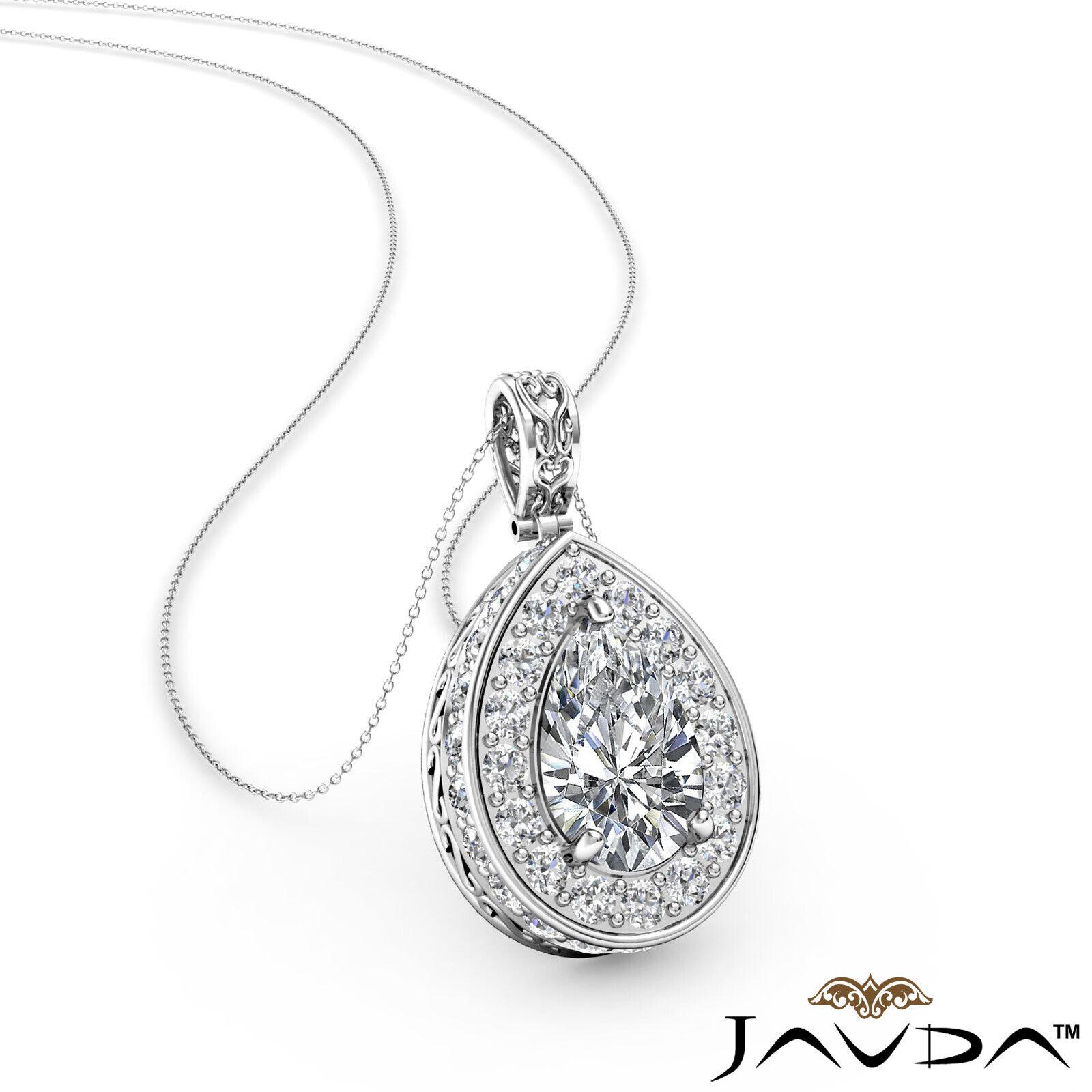 1.06ctw Circa Halo Pear Natural Diamond Micro Pave Set Filigree Pendant Necklace
