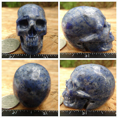 """2.0"""" Dumortierite Skull Carved Stone 107.6g 3.8oz Crystal Healing Realistic"""