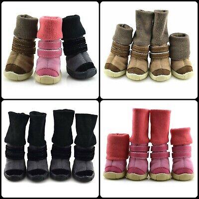 4PCs Thick Fur Best Pet Winter Warm Snow Shoes Anti-Skid Shoes For
