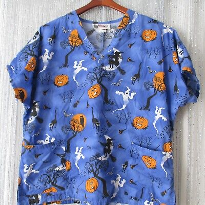 Halloween scrubs top size L large blue pumpkin - Halloween Scrubs