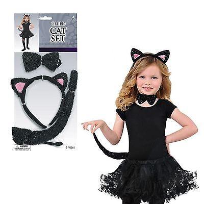 Kinder Schwarze Katze Satz Ohren Schwanz Fliege Mädchen Kostüm Zubehör