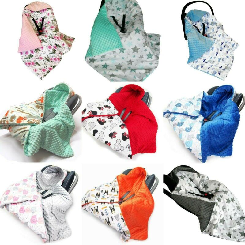 HOODED CAR SEAT BABY FILLED BLANKET Reversible COSYTOES all season soft Plush