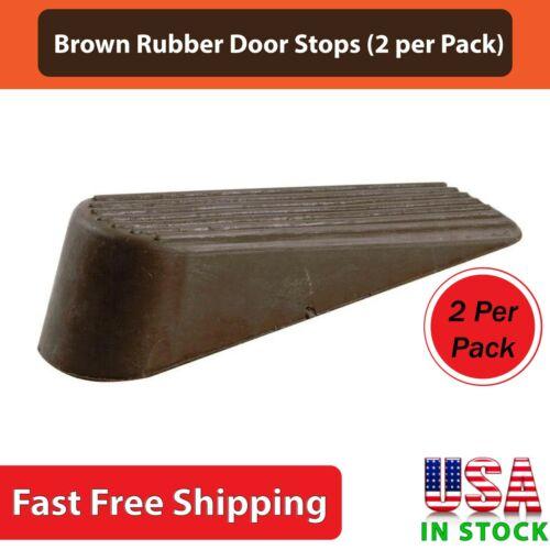 Brown Rubber Heavy Duty Door Stop Potable Stopper Reduce Scratches - 2 Per Pack