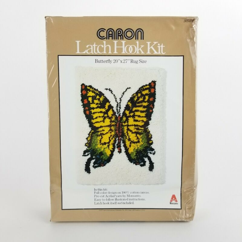 Vintage Butterfly Latch Hook Kit Rug Caron 20in x 27in Yellow Yarn NOS Sealed