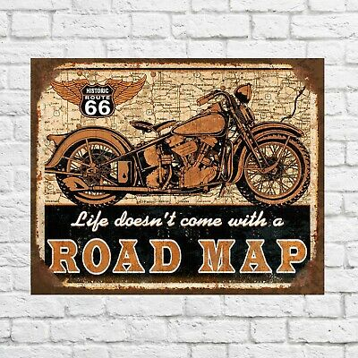 Route 66 sign, Route 66 Road Map sign, Motorcycles sign, Garage signs, bikers
