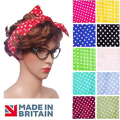 POLKA DOT Spotty TIE Headscarf Headband Hair Band Retro 60s / 50s ROCKABILLY UK