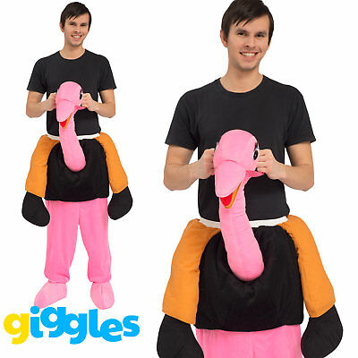 Ostrich Piggy Back Ride On Me Mascot Mens Fancy Dress Animal Carry Costume Stag (Man On Ostrich Costume)