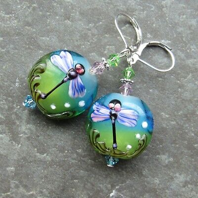*SJ1* 3D Dragonfly Lampwork Sterling Silver Dangle Earrings w/ Swarovski
