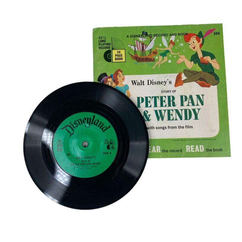 Walt Disney Peter Pan & Wendy Read-Along Book & 33 1/3 RPM Record 1965