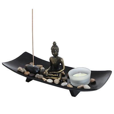 Glass Garden Candle - Zen Garden Buddha Statue Glass Tealight Candle & Incense Burner Holder, Black