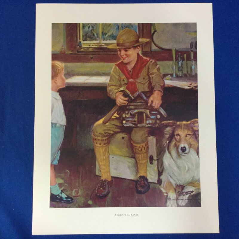 """Norman Rockwell Boy Scout Print 11""""x14"""" A Scout Is Kind"""